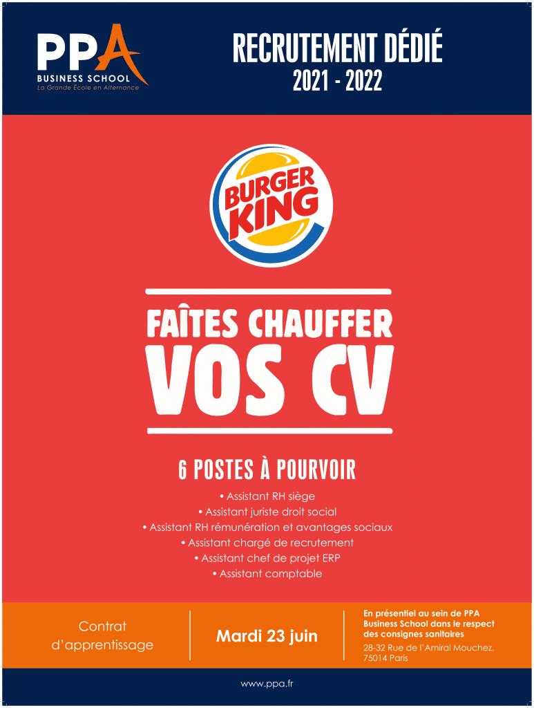 Affiche événement de recrutement Burger King avec PPA business school