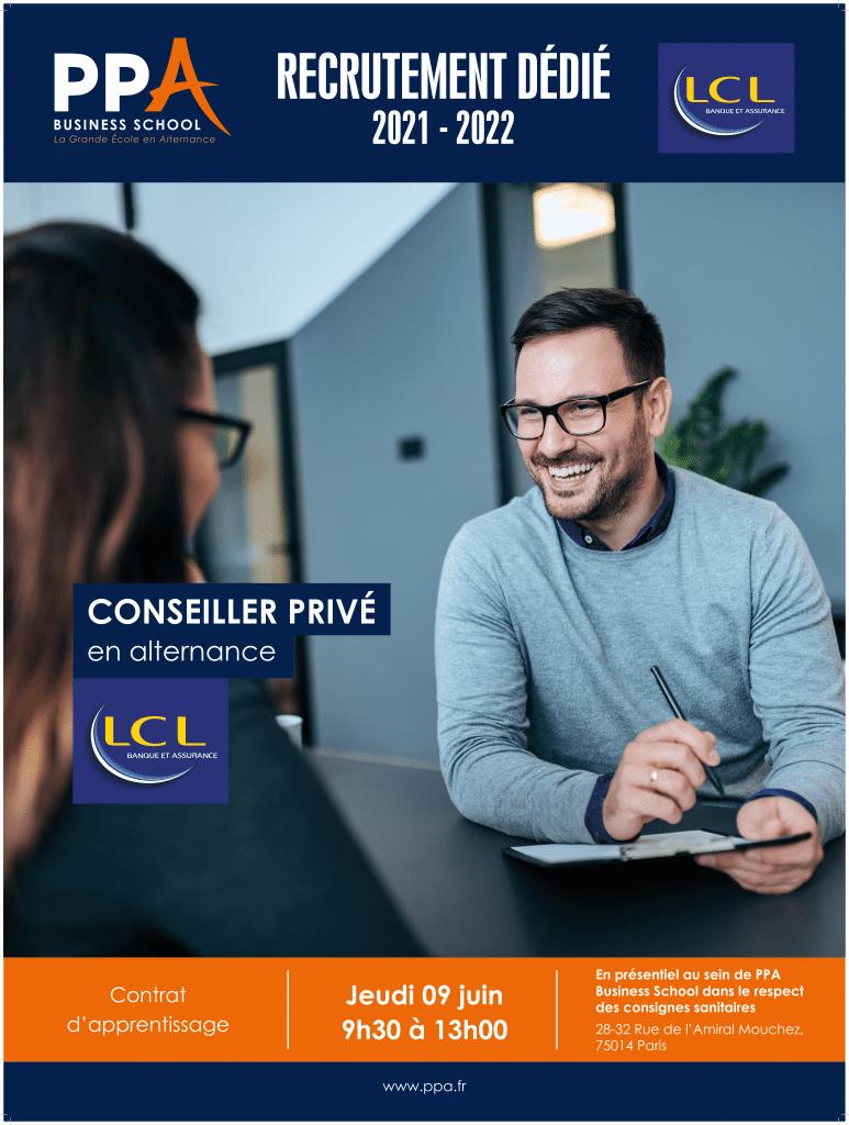 Affiche événement de recrutement LCL avec PPA business school
