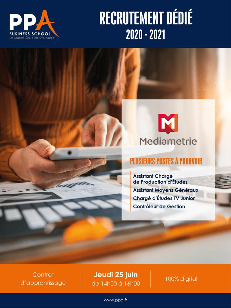 Affiche événement de recrutement Médiamétrie avec PPA business school