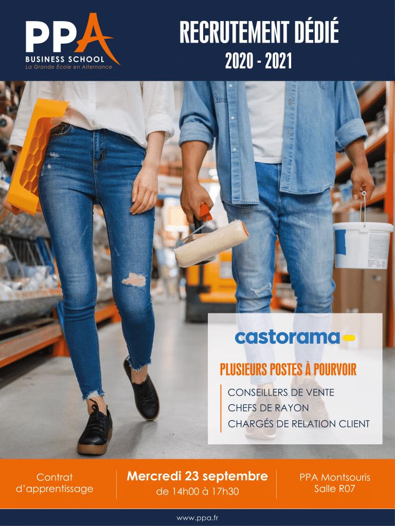 Affiche événement de recrutement Castorama avec PPA business school